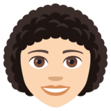Woman: Light Skin Tone, Curly Hair on JoyPixels 4.0