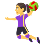 Woman Playing Handball on JoyPixels 4.0