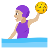 Woman Playing Water Polo: Medium-Light Skin Tone on JoyPixels 4.0