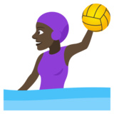 Woman Playing Water Polo: Dark Skin Tone on JoyPixels 4.0