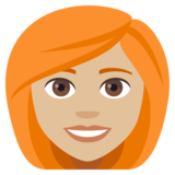 Woman: Medium-Light Skin Tone, Red Hair on JoyPixels 4.0