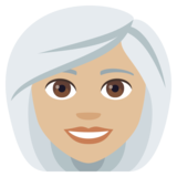 Woman: Medium-Light Skin Tone, White Hair on JoyPixels 4.0