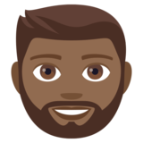 Man: Medium-Dark Skin Tone, Beard on JoyPixels 4.5