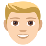 Man: Light Skin Tone, Blond Hair on JoyPixels 4.5