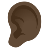 Ear: Dark Skin Tone on JoyPixels 4.5