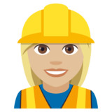 Woman Construction Worker: Medium-Light Skin Tone on JoyPixels 4.5