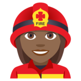 Woman Firefighter: Medium-Dark Skin Tone on JoyPixels 4.5