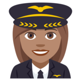 Woman Pilot: Medium Skin Tone on JoyPixels 4.5