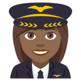 Woman Pilot: Medium-Dark Skin Tone on JoyPixels 4.5