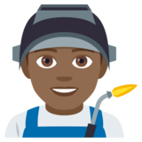 Man Factory Worker: Medium-Dark Skin Tone on JoyPixels 4.5