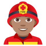 Man Firefighter: Medium Skin Tone on JoyPixels 4.5