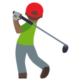 Man Golfing: Medium-Dark Skin Tone on JoyPixels 4.5