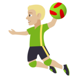 Man Playing Handball: Medium-Light Skin Tone on JoyPixels 4.5