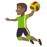 Man Playing Handball: Medium-Dark Skin Tone on JoyPixels 4.5