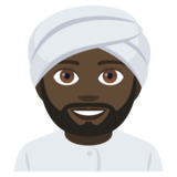 Man Wearing Turban: Dark Skin Tone on JoyPixels 4.5