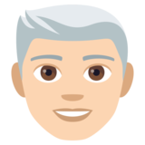 Man: Light Skin Tone, White Hair on JoyPixels 4.5