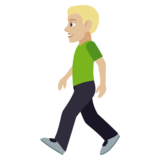 Person Walking: Medium-Light Skin Tone on JoyPixels 4.5