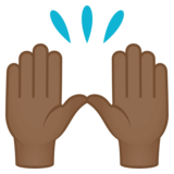 Raising Hands: Medium-Dark Skin Tone on JoyPixels 4.5