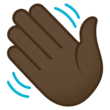Waving Hand: Dark Skin Tone on JoyPixels 4.5