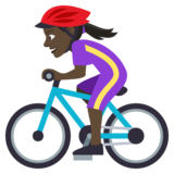 Woman Biking: Dark Skin Tone on JoyPixels 4.5