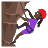 Woman Climbing: Dark Skin Tone on JoyPixels 4.5