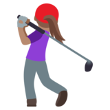 Woman Golfing: Medium Skin Tone on JoyPixels 4.5