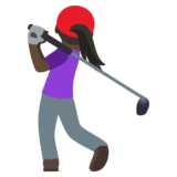 Woman Golfing: Dark Skin Tone on JoyPixels 4.5