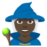 Woman Mage: Dark Skin Tone on JoyPixels 4.5