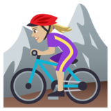 Woman Mountain Biking: Medium-Light Skin Tone on JoyPixels 4.5
