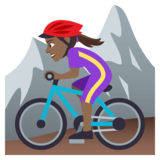 Woman Mountain Biking: Medium-Dark Skin Tone on JoyPixels 4.5
