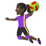 Woman Playing Handball: Dark Skin Tone on JoyPixels 4.5