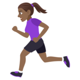 Woman Running: Medium-Dark Skin Tone on JoyPixels 4.5