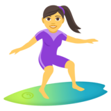 Woman Surfing on JoyPixels 4.5