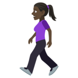 Woman Walking: Dark Skin Tone on JoyPixels 4.5