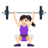 Woman Lifting Weights: Light Skin Tone on JoyPixels 4.5