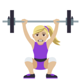 Woman Lifting Weights: Medium-Light Skin Tone on JoyPixels 4.5