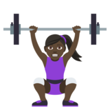 Woman Lifting Weights: Dark Skin Tone on JoyPixels 4.5