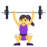 Woman Lifting Weights on JoyPixels 4.5
