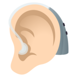 Ear with Hearing Aid: Light Skin Tone on JoyPixels 5.0