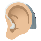 Ear with Hearing Aid: Medium-Light Skin Tone on JoyPixels 5.0