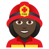 Woman Firefighter: Dark Skin Tone on JoyPixels 5.0