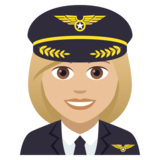 Woman Pilot: Medium-Light Skin Tone on JoyPixels 5.0