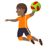 Person Playing Handball: Medium-Dark Skin Tone on JoyPixels 5.0