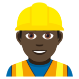 Man Construction Worker: Dark Skin Tone on JoyPixels 5.0