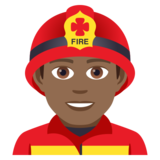 Man Firefighter: Medium-Dark Skin Tone on JoyPixels 5.0