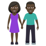 Woman and Man Holding Hands: Dark Skin Tone on JoyPixels 5.0