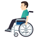 Man in Manual Wheelchair: Light Skin Tone on JoyPixels 5.0