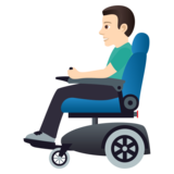 Man in Motorized Wheelchair: Light Skin Tone on JoyPixels 5.0