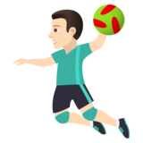 Man Playing Handball: Light Skin Tone on JoyPixels 5.0