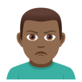 Man Pouting: Medium-Dark Skin Tone on JoyPixels 5.0